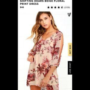 "Lulus ""Shifting Dears"" beige floral print dress"